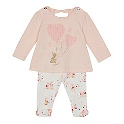 Baker by Ted Baker - Baby girls' light pink bunny top and leggings set
