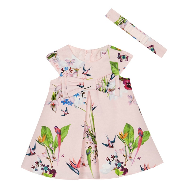 1c7bcbaf8f56e1 Baker by Ted Baker - Baby Girls  Pink Floral Print  Oasis  Dress And Headband  Set - £10.80 - Bullring   Grand Central