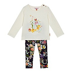 Baker by Ted Baker - Girls' white bunny logo top and floral leggings set