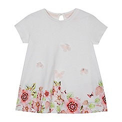 Baker by Ted Baker - Girls' white floral print butterfly applique t-shirt