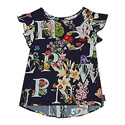 Baker by Ted Baker - Girls' navy floral print dip hem top