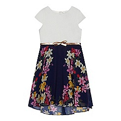 Baker by Ted Baker - Girls' navy floral print belted dress