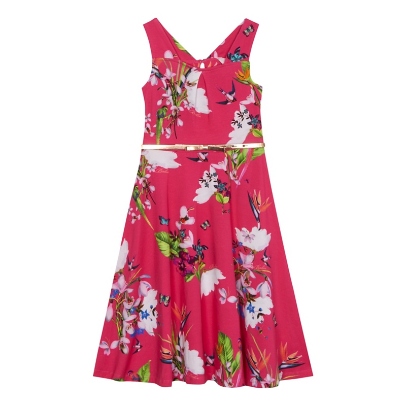 262b89812e99d7 Baker by Ted Baker -  Girls  Pink Floral Print Jersey Dress - Female First  Shopping