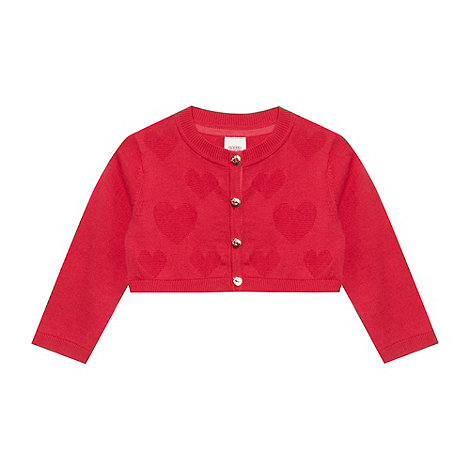 Baker by Ted Baker - Girl+s red jacquard heart cropped cardigan