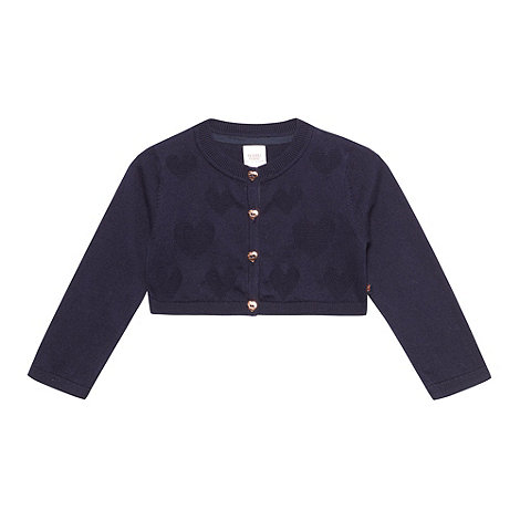 Baker by Ted Baker - Babies navy heart knitted soft cardigan