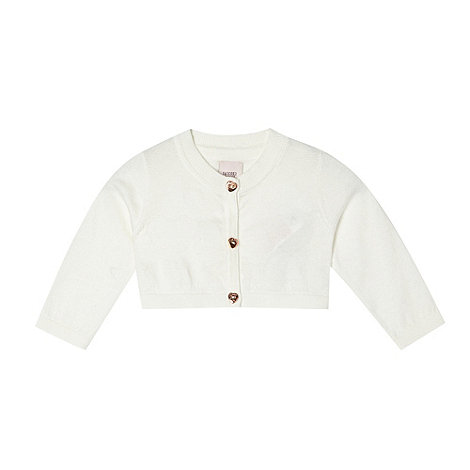 Baker by Ted Baker - Babies off white heart knitted soft cardigan
