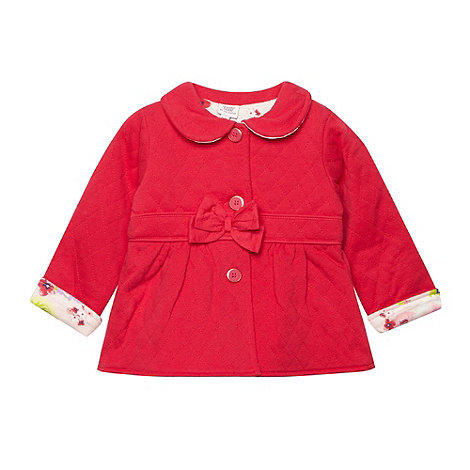 Baker by Ted Baker - Babies pink quilted sweatfloral button coat