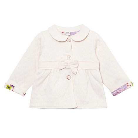 Baker by Ted Baker - Babies light pink quilted sweat floral button coat