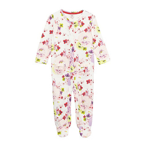 Baker by Ted Baker - Babies pink floral bow soft sleepsuit