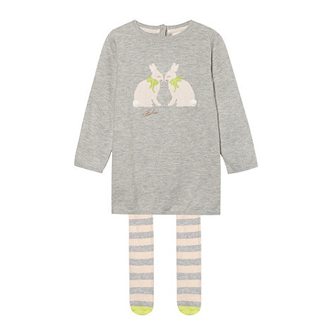 Baker by Ted Baker - Babies grey knitted bunny dress and tights set