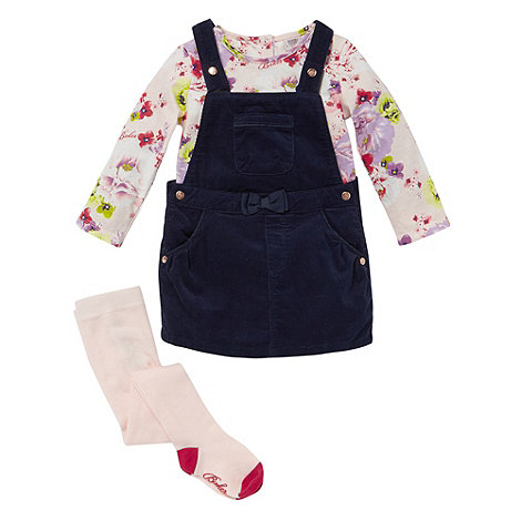 Baker by Ted Baker - Babies pink floral bunny print pinafore top and tights set