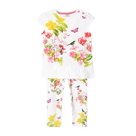 Baker by Ted Baker - Babies off white botanical printed top and leggings set