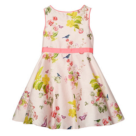 Baker by Ted Baker - Babies pale pink floral strawberry pattern full skirt dress