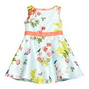 Babies pale green floral dress