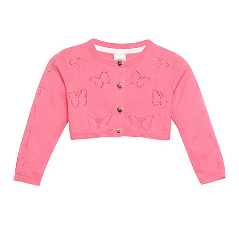Baker by Ted Baker - Babies pink pointelle butterfly cardigan