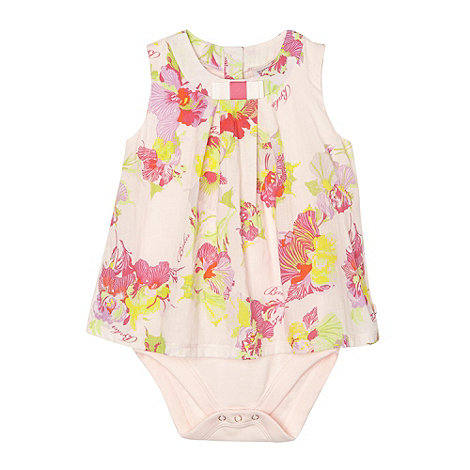 Baker by Ted Baker - Babies light pink orchid printed 2-in-1 dress and bodysuit