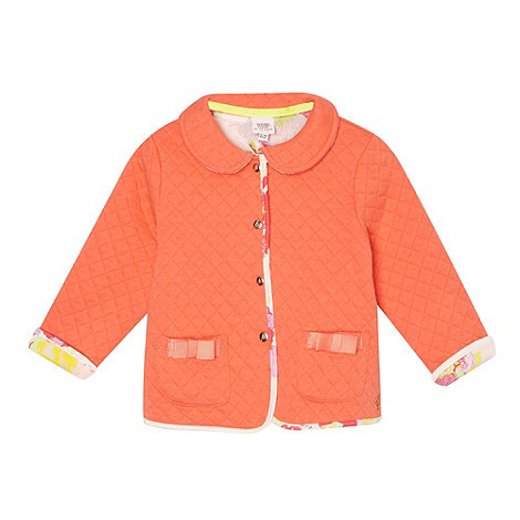 Baker by Ted Baker - Babies orange quilted peter pan collar sweat jacket