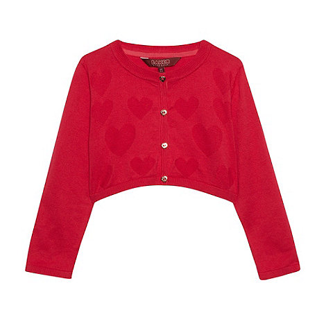 Baker by Ted Baker - Girl's dark pink heart knitted soft cardigan