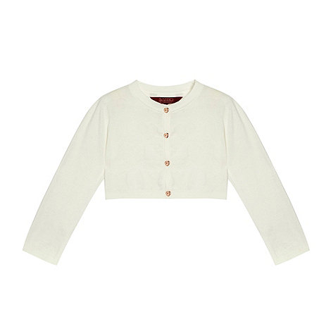 Baker by Ted Baker - Girl+s off white heart knitted cropped cardigan