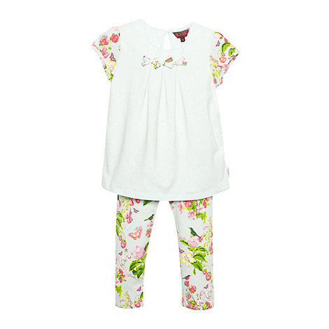 Baker by Ted Baker - Girl+s pale green floral top and leggings set