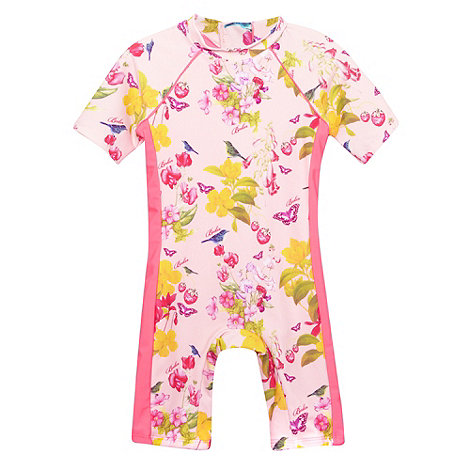 Baker by Ted Baker - Girl+s light pink botanical all in one swimsuit