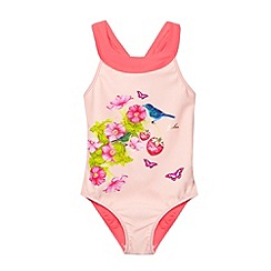 Baker by Ted Baker - Girl's light pink floral swimsuit