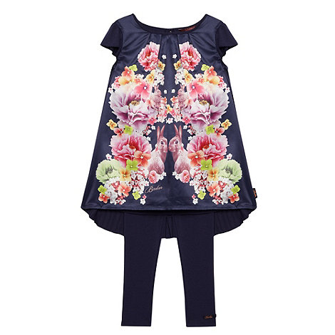 Baker by Ted Baker - Girl+s navy mirrored floral tunic and leggings set