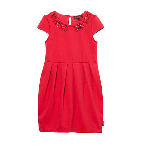 Baker by Ted Baker - Girl+s red ruched embellished mockable dress