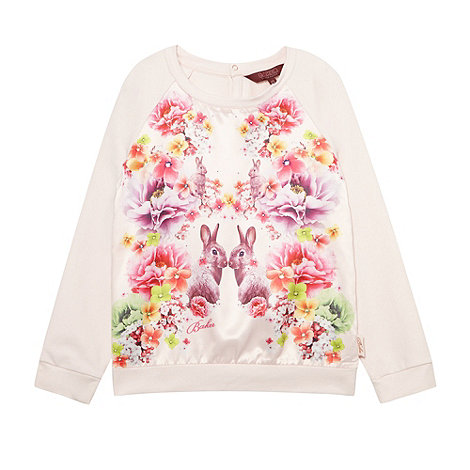 Baker by Ted Baker - Girl+s pale pink soft bunny and floral satin front sweat top
