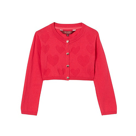 Baker by Ted Baker - Girl+s dark pink heart knitted cropped cardigan