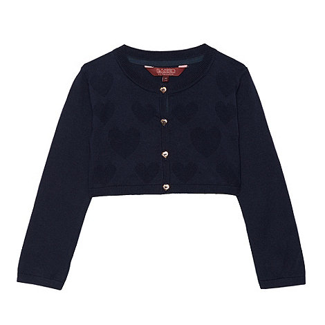 Baker by Ted Baker - Girl's navy heart knitted cropped cardigan
