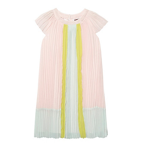 Baker by Ted Baker - Girl+s pale pink colour block pleated dress