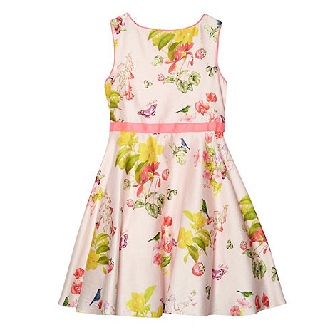 Baker by Ted Baker - Girl+s pale pink floral strawberry pattern full skirt dress