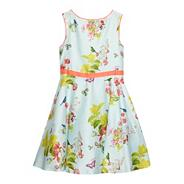 Girl's pale green floral dress