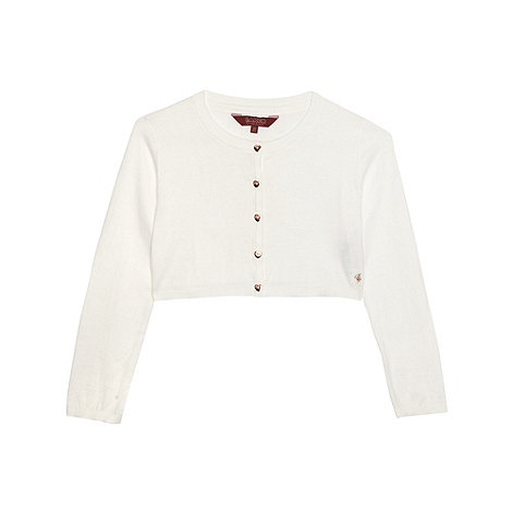 Baker by Ted Baker - Girl's white knitted cropped cardigan