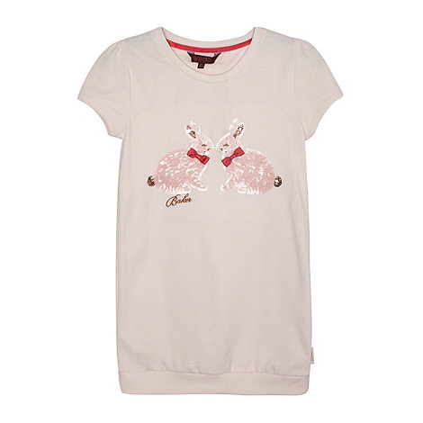 Baker by Ted Baker - Girl+s pink short sleeved sequin bunny jumper