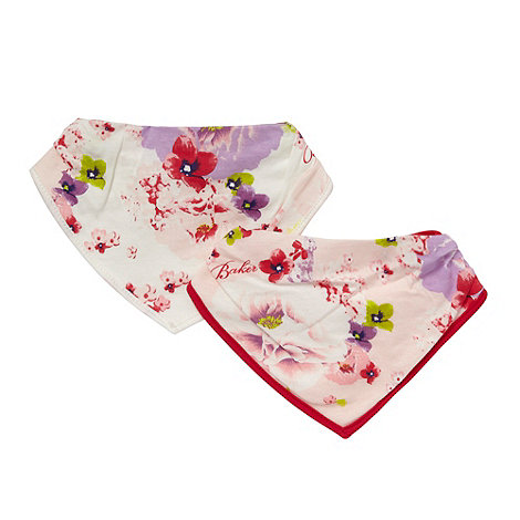 Baker by Ted Baker - Babies pack of two pink floral soft dribble bibs