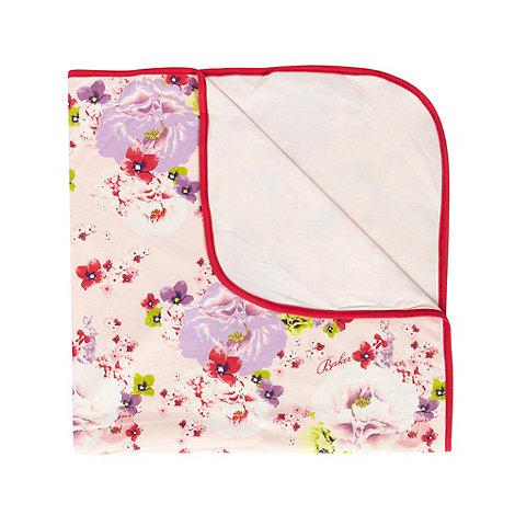 Baker by Ted Baker - Designer girl+s pink soft floral bunny blanket
