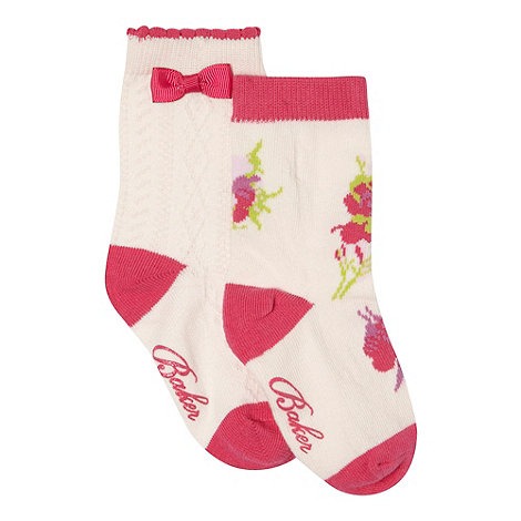 Baker by Ted Baker - Pack of two babies light pink floral and cable knit socks