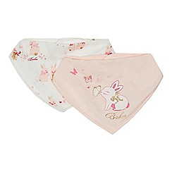 Baker by Ted Baker - Pack of two baby girls' pink and cream bunny print bibs