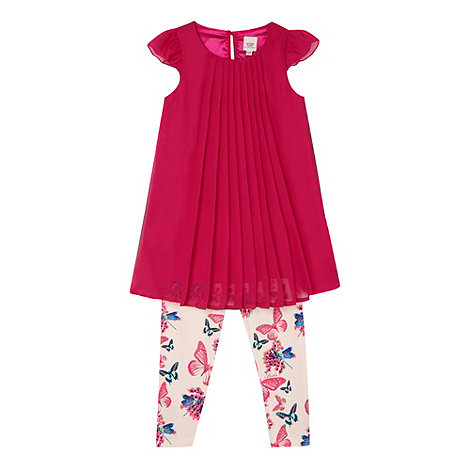 Baker by Ted Baker - Babies dark pink pleated top and leggings set