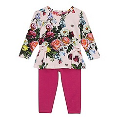 Baker by Ted Baker - Babies light pink floral printed top and leggings set