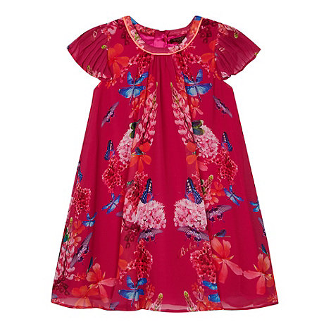 Baker by Ted Baker - Girl+s dark pink mirrored dragonfly print dress