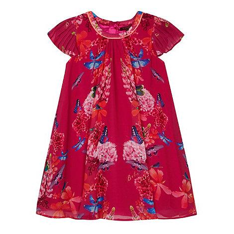Baker by Ted Baker - Girl+s dark pink mirrored dragonfly print dress