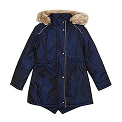 Baker by Ted Baker - Girl's navy shower resistant padded parka jacket