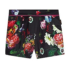 Baker by Ted Baker - Girl's black floral pleat front shorts