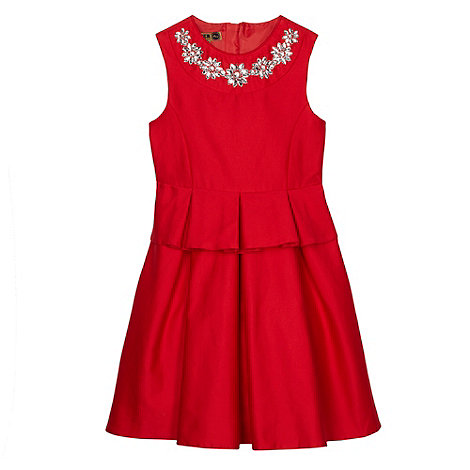 Baker by Ted Baker - Girl+s red jewel trim peplum dress