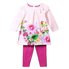 Baker by Ted Baker - Girl's light pink lotus border dress and leggings set