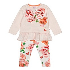 Baker by Ted Baker - Babies light pink rose printed top and leggings set