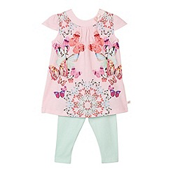 Baker by Ted Baker - Babies pink butterflies tunic and leggings set